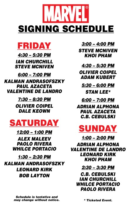 Fan Expo 2010 Signing Schedule