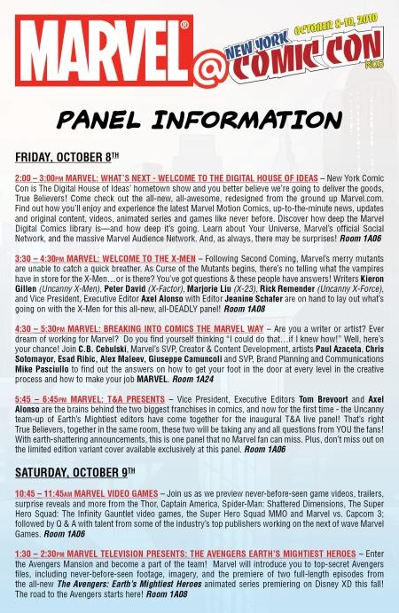 Marvel New York Comic-con 2010 Panel Release