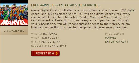 Marvel Veterans Offer