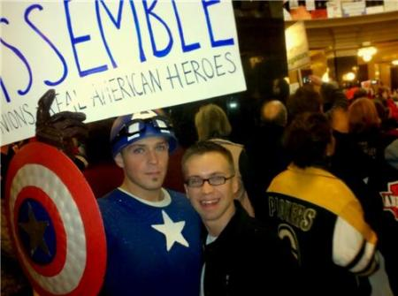 Captain America Wisconsin Protest
