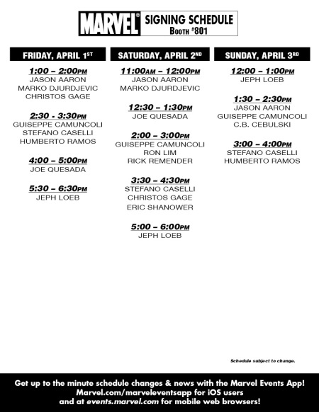 MARVEL WONDERCON 2011 Schedule