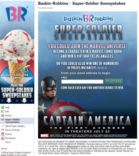 Baskin Robbins Super Soldier Sweepstakes