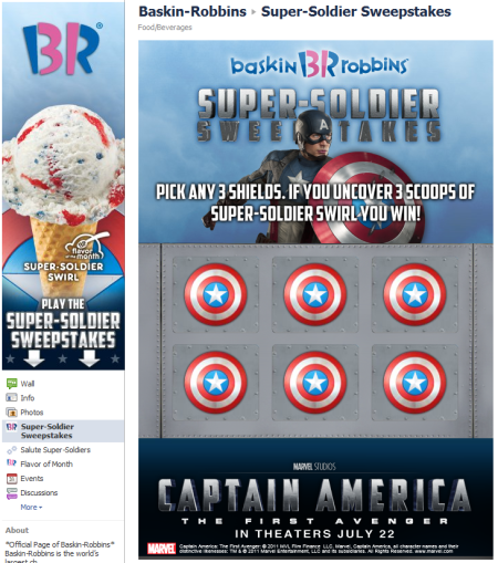 Baskin Robbins Super-Soldier Sweepstakes