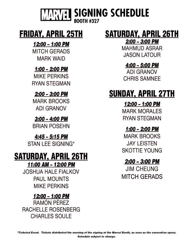 Marvel C2E2 Signing Schedule