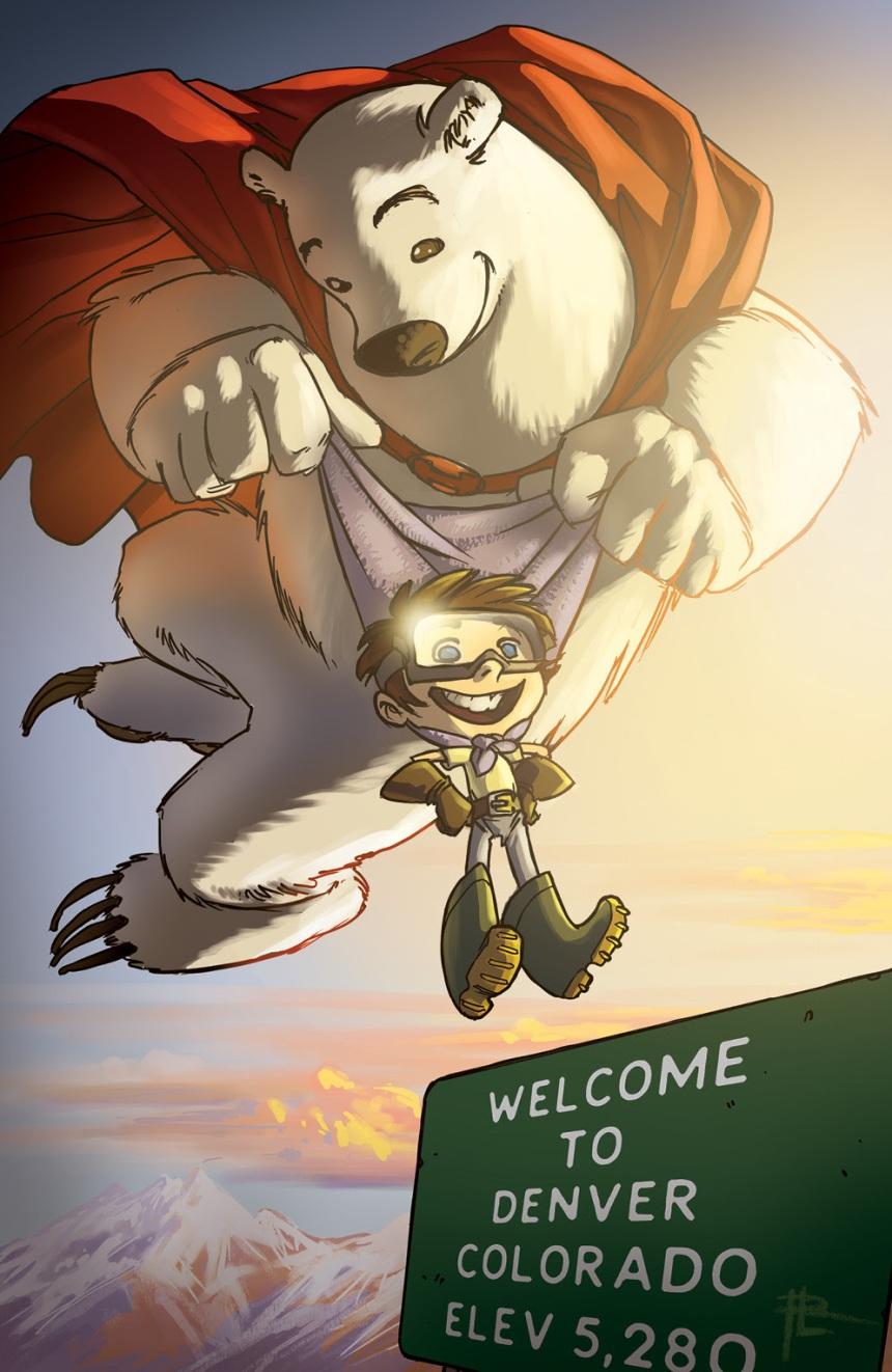 HEROBEAR AND THE KID SAVING TIME #1 Denver Comic Con Cover by Royden Lepp