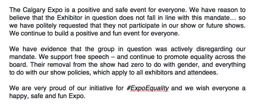 calgary expo statement