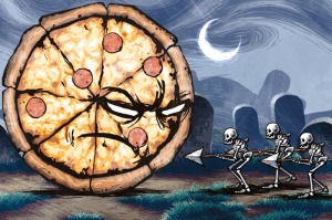 Pizza vs. Skeletons. Image from Riverman Media Website.