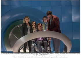 (from left) Jennifer Lawrence as Raven / Mystique, Rose Byrne as Moira MacTaggert, James McAvoy as Charles / Professor X, Lucas Till as Alex Summers / Havok and Nicholas Hoult as Hank McCoy / Beast, in X-MEN: APOCALYPSE.