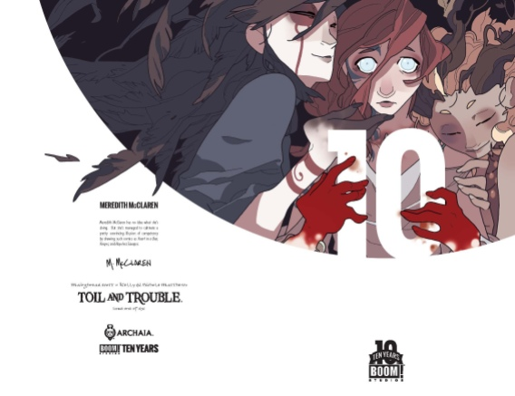 Toil and Trouble 10 Years Cover by Meredith McClaren (full wraparound image shown)