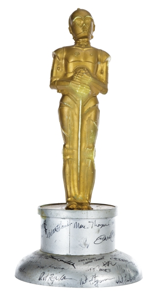Lot 1553--C-3PO Oscar (style) presented to Brian Johnson by ILM for his work on Star Wars Episode V - The Empire St