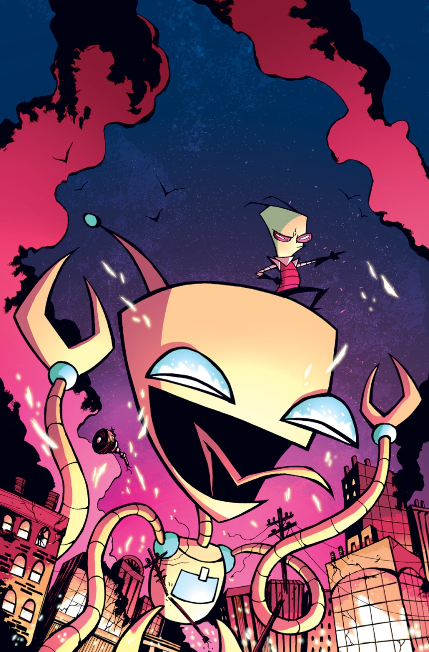 Invader ZIM #8 cover illustrated by Dave Crosland and colored by Warren Wucinich