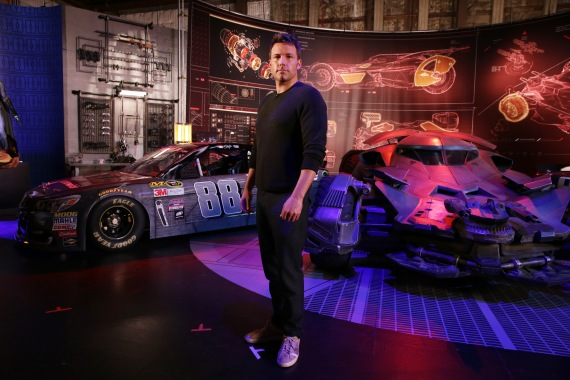 """""""Batman v Superman: Dawn of Justice"""" star Ben Affleck gets an in-depth look at Dale Earnhardt Jr.'s film-inspired No. 88 Batman Chevrolet at Warner Bros. Studios on Thursday, March 17, 2016, in Burbank, CA. (Photo by Eric Charbonneau/Invision for Warner Bros./AP Images)"""