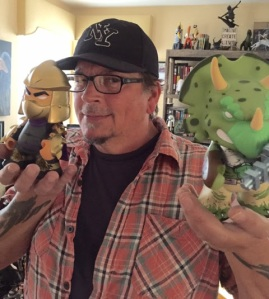 Kevin Eastman with Kidrobot's Gold Shredder & Green Triceraton