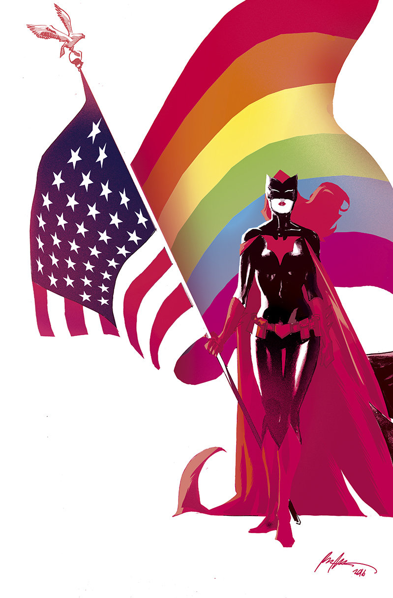 "A Batwoman pinup by Rafael Albuquerque, from the ""Love Is Love"" comic."