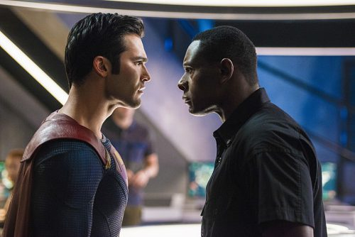 "Supergirl -- ""The Last Children of Krypton"" -- Image SPG202b_0155 -- Pictured (L-R): Tyler Hoechlin as Clark/Superman and David Harewood as Hank Henshaw -- Photo: Diyah Pera/The CW -- © 2016 The CW Network, LLC. All Rights Reserved"