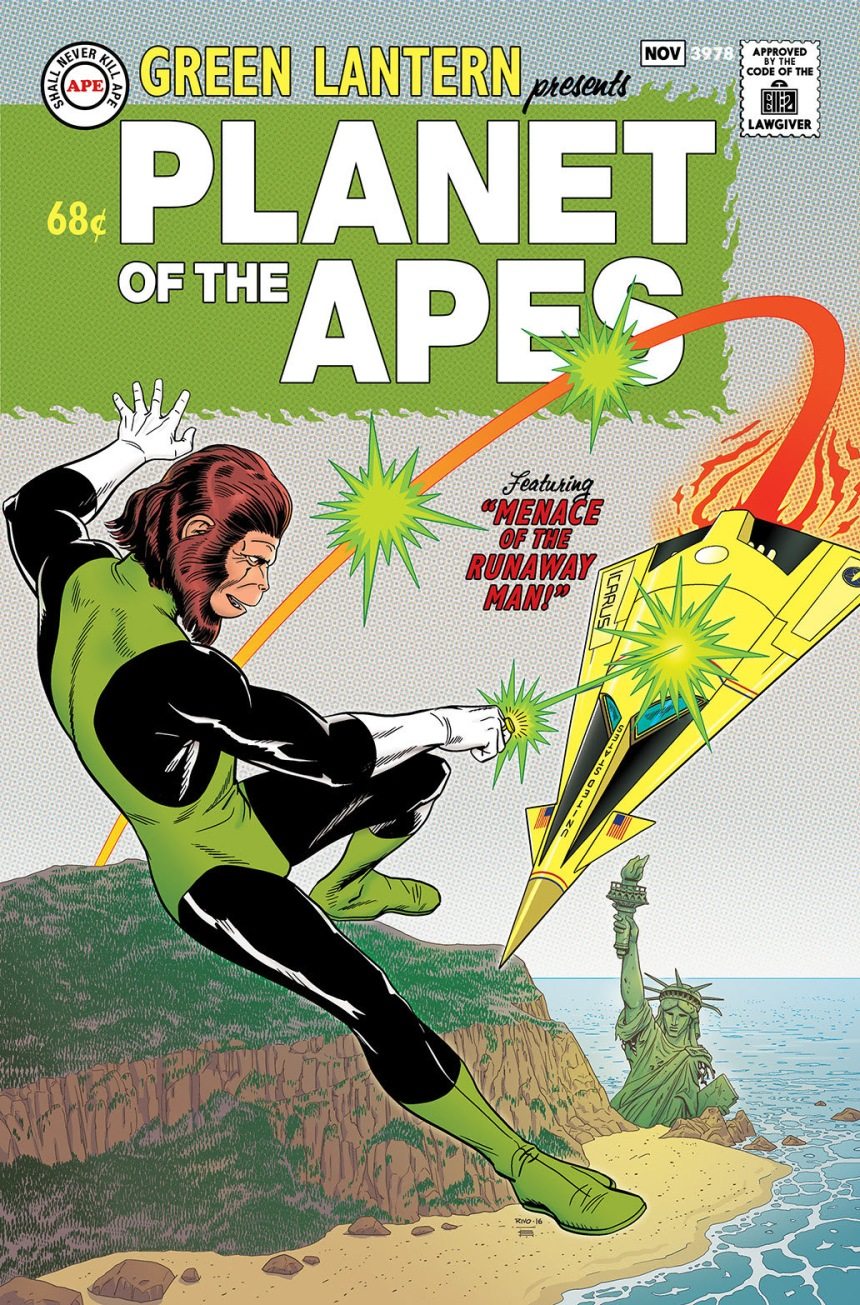 Planet of the Apes Green Lantern #1 Silver Age Variant Cover by Paul Rivoche